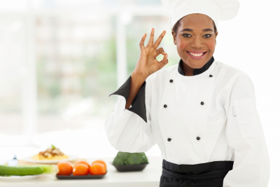 woman chef smiling
